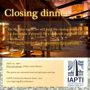 IAPTI Closing dinner